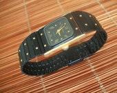 Vintage Geneva Wristwatch - Black Face w/ Black Band - Nice looking