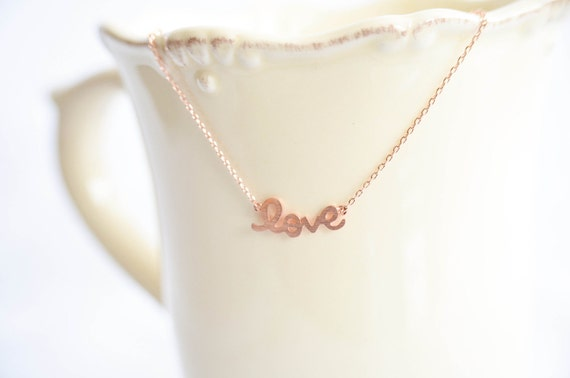 Love Necklace in Rose Gold / Pink Gold - Wedding, Bride, Bridal, Love, Anniversary