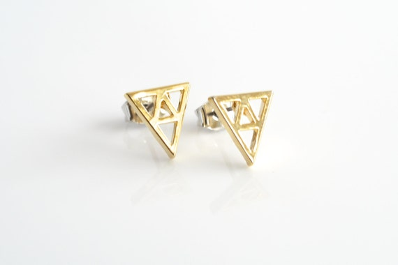 Triforce Earrings in Gold - Fun, Trend, Funky, Geometric, Math, Arrow, Geekery, Geek, Zelda, Link, Game