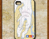 iPhone Cover, iPhone 4s, Custom iPhone case, Personalized iPhone, Nautical Chart, Monogrammed with Nautical Flags, Traverse City, MI