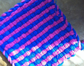 Pink and Blue Pot Holder