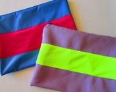 Neon Stripe Clutch Pouch