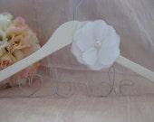 Ready to Ship: Custom Wedding Dress Hanger with Hand Sewn Silk Flower Shabby Chic Vintage Inspired