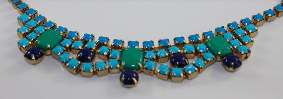 Vintage Hand Painted Blue and Green Statement Necklace