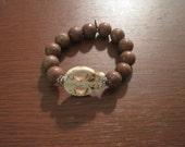 Brown Jasper Gemstone Stretch Beaded Bracelet with Skull bead