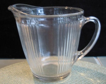 Vintage Wide Mouth Pressed Glass Pitcher With Ribbed Accordion Design
