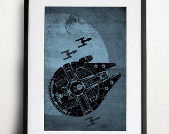 Star Wars - Millenium Falcon Poster Vintage Print