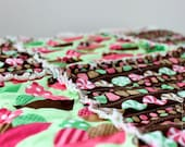 Dessert Party Fabric- Ann Kelle for Robert Kaufman- Mint Chocolate Chip- Baby Rag Quilt- Play Mat- Ready to Ship