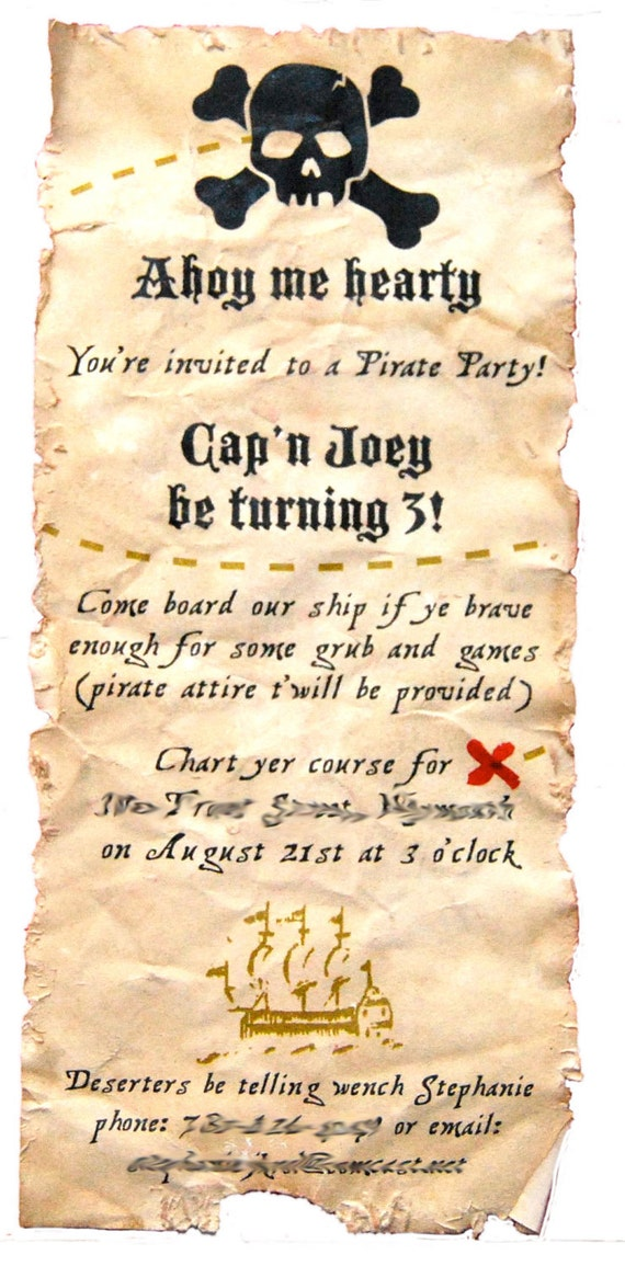 Authentic Looking Pirate Invitation Crafthubs – Pirate Party Invites
