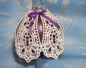 Lace Covered Glass Christmas Purple Ornament Swaroski Crystals