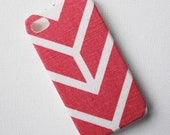 iPhone 4 Case, iPhone 4s Case, Recycled Pink and White Stripe Chevron Fabric