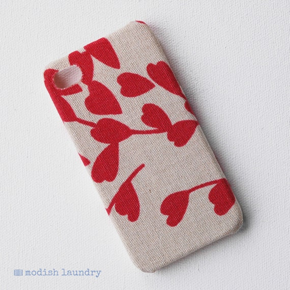 Recycled Fabric iPhone 4 Case, iPhone 4s Case, Autumn Red Leaves