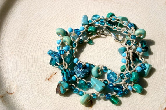 Turquoise, Blue, Aqua,  Beaded Crochet Necklace,Beachy,  Chic