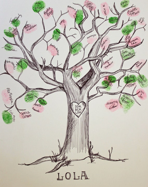 Drawn Ink Guest Book Tree