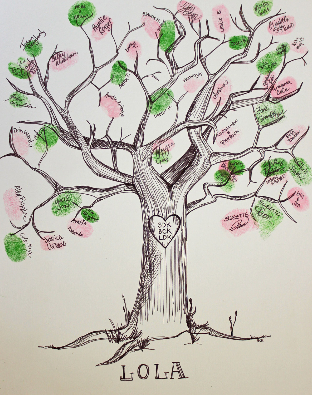 Hand Drawn Ink Guest Book Tree