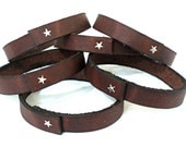 "Stacking Leather Jewelry,""Star Bracelet"" Veg Tan Leather & Sterling Silver Jewelry"