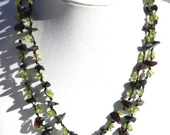 Baltic Amber Necklace with Peridot  with 2 Strands