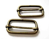 Antique Brass Rectangle Slider Rings Finding for Handmade Bags - Set of 2pcs (3.4cm x 1.5cm)