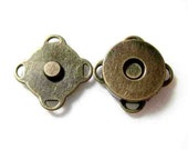 14mm Antique Brass Sewing Magnetic Snaps Closures - Set of 2pcs