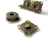 14mm Antique Brass Sewing Magnetic Snaps Closures - Pack of 10sets