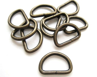 Antique Brass Bronze D-Ring Finding for Hand Bag - Pack of 10pcs (2.5cm x 1.8cm)