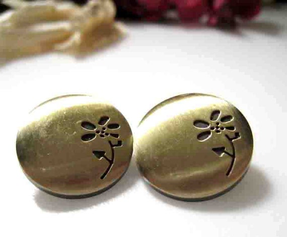 16mm Daisy Flower Antique Bronze Brass Open Ring Snap Fastener Snap Button - Set of 4pcs
