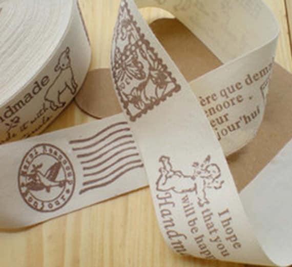 Zakka Retro Stamps and Post Chop Handmade Theme Cotton Fabric Label Tape Ribbon (6 Patterns)