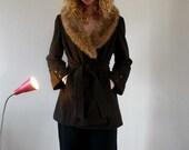 Fur Collared Vintage Chocolate Brown Wool Coat
