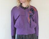 Purple Asymetric Design Felted Jacket
