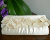 Ivory Satin Bridal Clutch With Chiffon Flowers