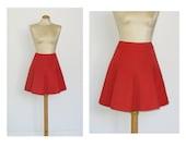 S 70s Vintage Mini Skirt Pleated Skirt Red
