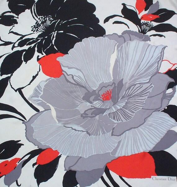 CHRISTIAN DIOR Vintage Silk Scarf Flowers