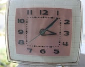 Vintage 1950's General Electric Telechron Pink Wall Clock