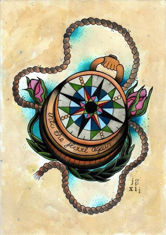 Items similar to Compass Art Print - Tattoo Flash Print on ...