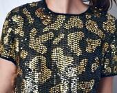 Vintage 1980 Laurence Kazar designer black and gold leopard sequin top size M