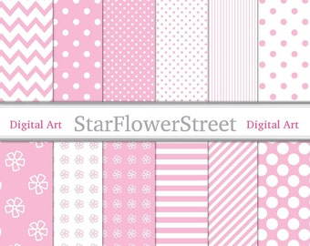 Pink Baby Girl Patterns Digital Paper - printable polka dot striped chevron diy baby shower invitation scrapbook paper - Instant Download