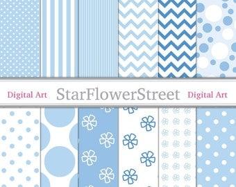 Light Blue Digital Paper Patterns - powder blue and white, polka dot, striped, chevron, flower, scrapbook crafts - Instant Download