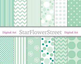 Mint Green Digital Paper Patterns - soft pastel green and white, polka dot, striped, chevron, flower, scrapbook pattern 12x12 background