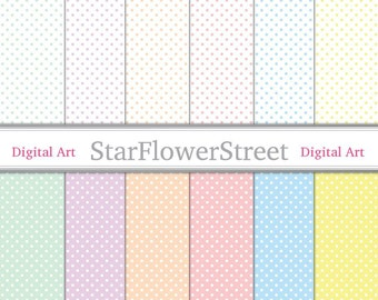 Pastel Polka Dot Digital Paper - blue, purple, pink, mint green, yellow, peach small dots white scrapbooking -Instant Download