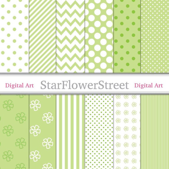 Lime, Green, Digital Paper, Patterns, white, polka dot, stripe, chevron, diagonal, flower, scrapbook crafts Instant Download