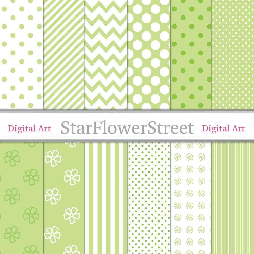lime green digital paper patterns white polka dot stripe chevron diagonal flower. Black Bedroom Furniture Sets. Home Design Ideas