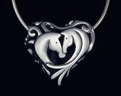 Filigree Horse Heart in Sterling Silver