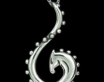Sterling Silver Abstract, Swirling Horse