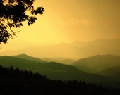 Golden Mountain Sunset Photograph 8x10 Blue Ridge Landscape Matted to 11 x 14