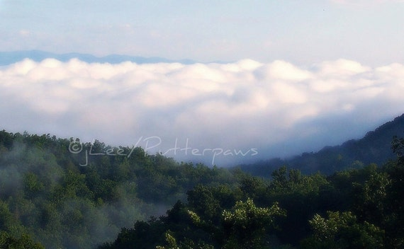 Landscape, Photography, Fog  photography,Clouds, in Mountain Valley, Wall Art, Fine Art, Blues whites