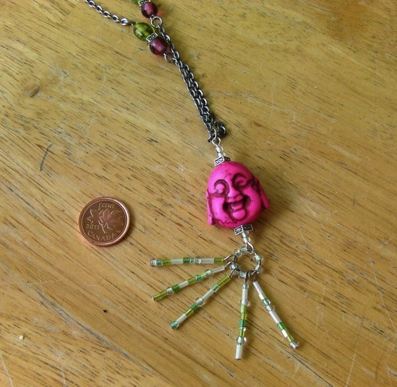 Custom Order- For Sofia, Long silver Buddha necklace, pink and green
