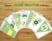 Green tractor Birthday Party printable package - Personalized DIY Green Tractor birthday party decorations