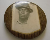 Antique Early 20th Century Black Americana Compact Tin/Celluloid Mirror