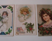 Lot (3) Antique Embossed  Girl Beauties Christmas Postcards (C. 1900-1909)