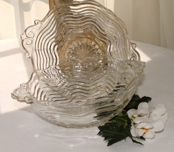 Set of  two fluted glass bowls